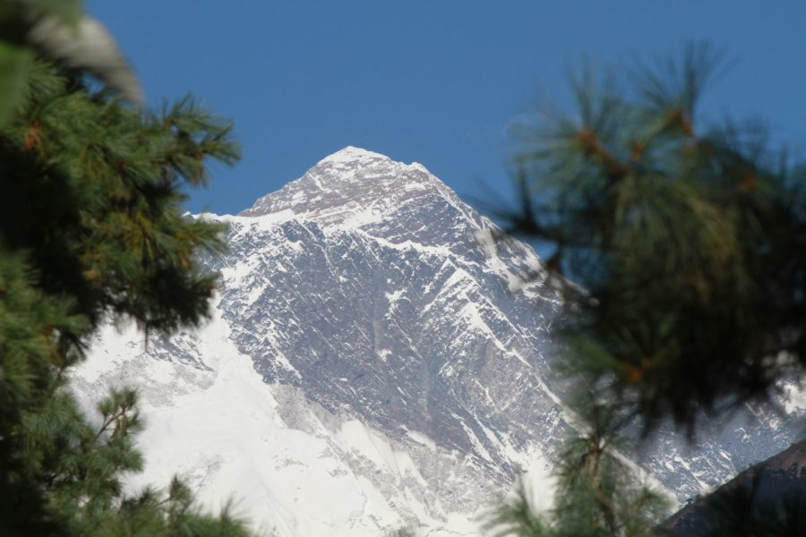 Glimpse of Mount Everest from Namche Bazar on the way to EBC