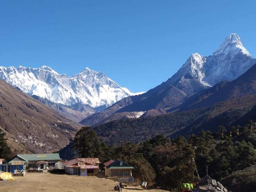 Tengboche on the backdrop of Mount Everest and Amadablam on the way to Everest base camp