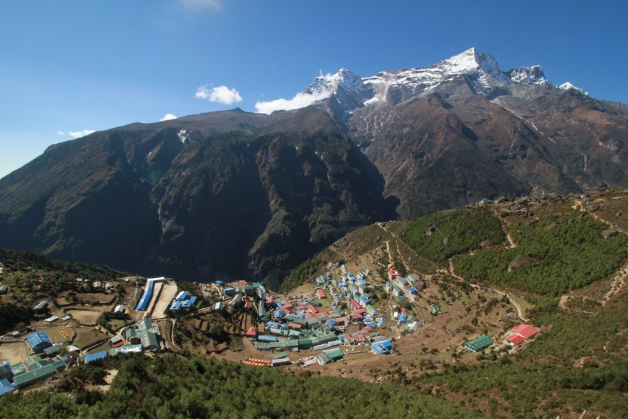 View of Namche Bazaar on the way to Everest Base Camp